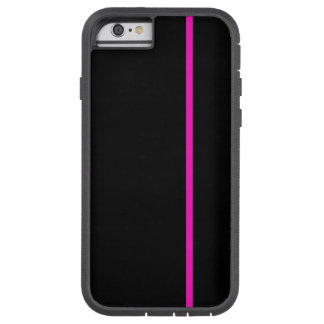 Shocking Pink Thin Vertical Line on Black Tough Xtreme iPhone 6 Case
