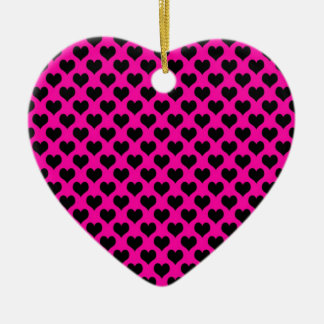 Shocking Pink with Black Hearts Pattern Christmas Ornament
