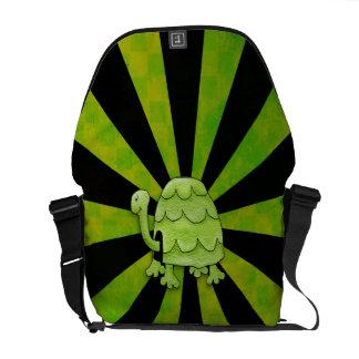 Shocking Sunburst Turtle Lime Green Messenger Bags