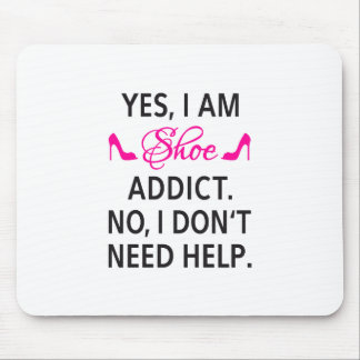 Shoe addict, text design, word art mouse pad