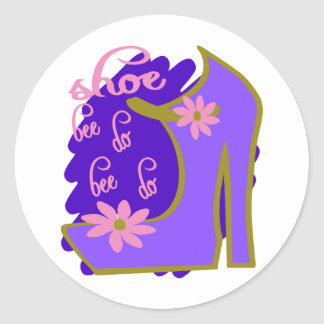 Shoe Bee Do Bee Do With Shoe And Jagged Background Classic Round Sticker