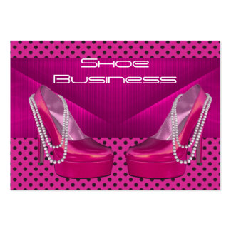Shoe Business Card Black Bright Pink Dots 2