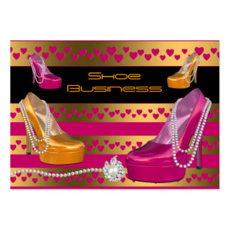 Shoe Business Card Black Bright Pink Gold Hearts