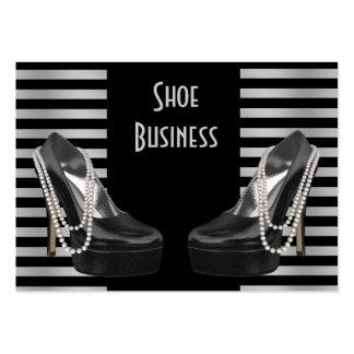 Shoe Business Card Black Silver Stripe 2