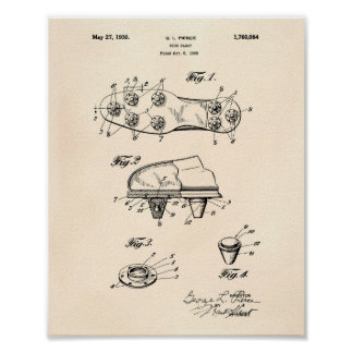 Shoe Cleat 1930 Patent Art Old Peper Poster