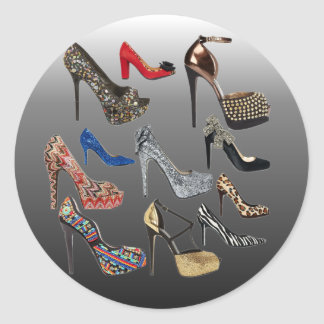 Shoe High Heels Collage Customize Classic Round Sticker