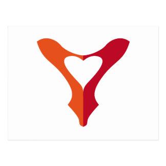 shoe love, red shoe heart postcard
