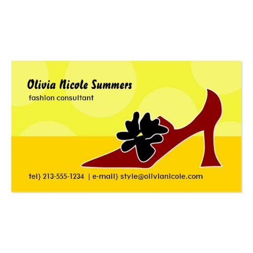 Shoe lover's calling card business cards