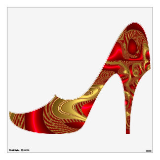 Shoe Multi Color Red gold elegant Wall Sticker