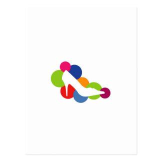 Shoe on colorful circles postcard