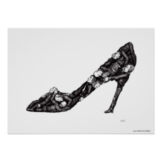 Shoe out of men surreal black and white drawing print