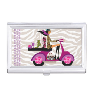 Shoe Scooter Girl Fashion Cute Cool Zebra Case For Business Cards