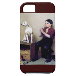 Shoe shine Boy playing flute and his Dog iPhone 5 Cover