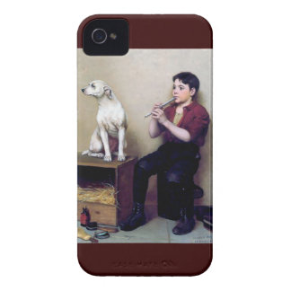 Shoe shine Boy playing flute and his Dog iPhone 4 Covers