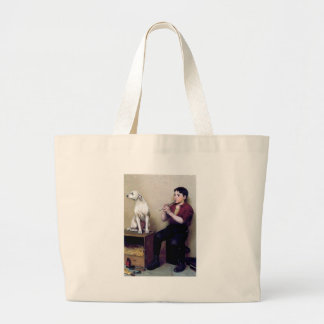 Shoe shine Boy playing flute and his Dog Large Tote Bag