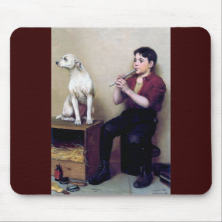 Shoe shine Boy playing flute and his Dog Mouse Pad