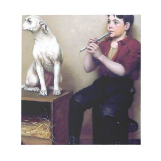 Shoe shine Boy playing flute and his Dog Note Pads