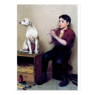Shoe shine Boy playing flute and his Dog Postcard
