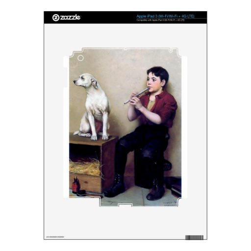 Shoe shine Boy playing flute and his Dog Decals For iPad 3