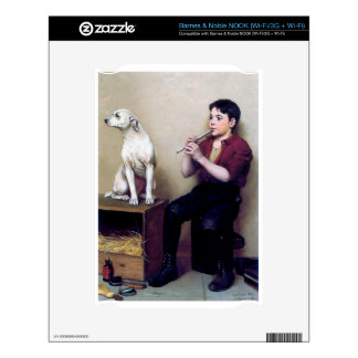 Shoe shine Boy playing flute and his Dog NOOK Decal