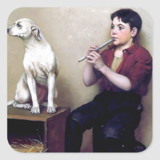 Shoe shine Boy playing flute and his Dog Square Sticker