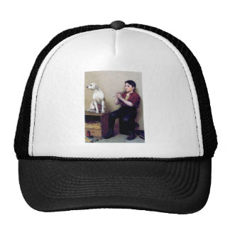Shoe shine Boy playing flute and his Dog Trucker Hat