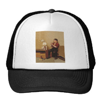 Shoe Shine Boy with Flute and Dog 1907 Mesh Hat