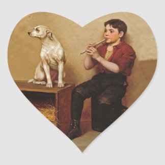 Shoe Shine Boy with Flute and Dog 1907 Heart Sticker