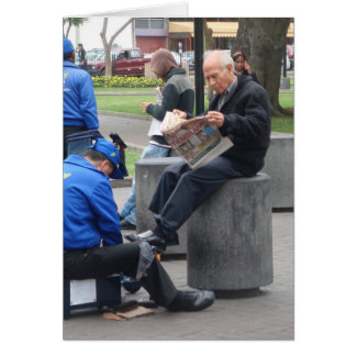 Shoe Shine in the Park in Lima, Peru Greeting Card
