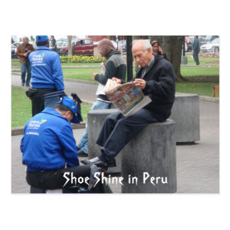 Shoe Shine in the Park in Lima, Peru Postcard
