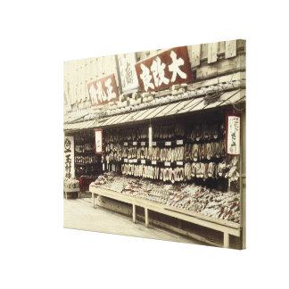 Shoe shop in Kyoto, c.1890 (hand-coloured photo) Canvas Print