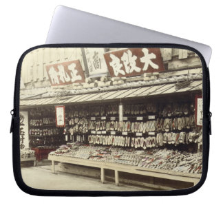 Shoe shop in Kyoto, c.1890 (hand-coloured photo) Computer Sleeve