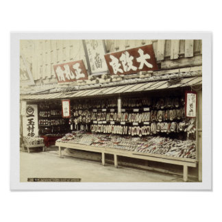 Shoe shop in Kyoto, c.1890 (hand-coloured photo) Poster