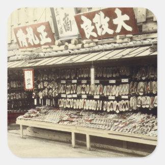 Shoe shop in Kyoto, c.1890 (hand-coloured photo) Square Sticker