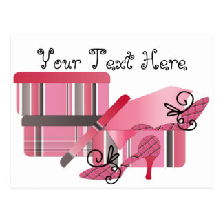 Shoe Shopping In Pink and Gray Postcard