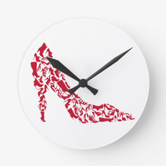 shoe silhouette with many different shoes clocks