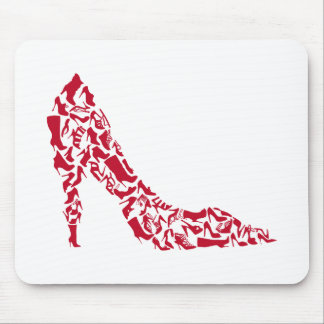 shoe silhouette with many different shoes mouse pad