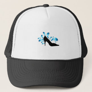Shoe silhouette with water droplets trucker hat