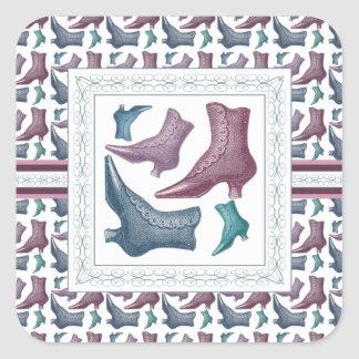 Shoe Store, Shoes Lover Vintage Victorian Boots Square Sticker
