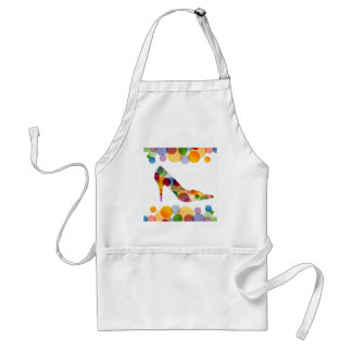 Shoe with colorful circles adult apron