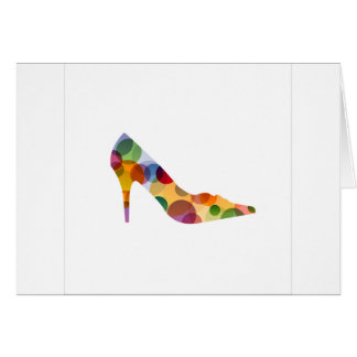 Shoe with colorful circles greeting card