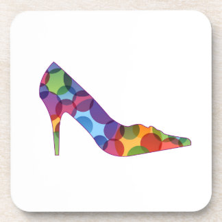 Shoe with colorful circles coaster