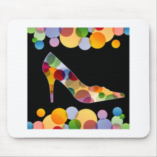 Shoe with colorful circles mouse pad