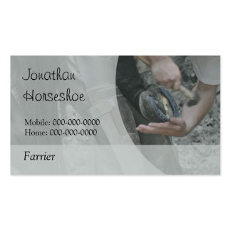 Shoeing a horse business card