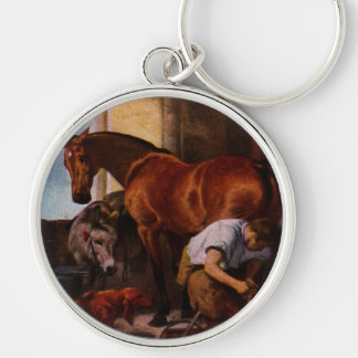 Shoeing the Bay Mare Gifts Keychain
