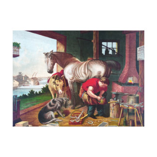 Shoeing the Horse Vintage Painting Canvas Print
