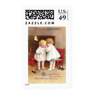 Shoeless Girls Whispering Vintage Christmas Stamp