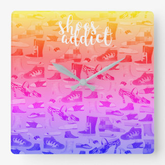 Shoes Addict Free Hand Funny Neon Girly Cheerful Square Wall Clock