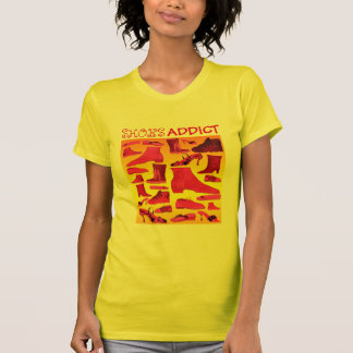 Shoes Addict Yellow Pink Hand Drawn Girly Funny T-Shirt