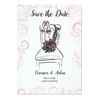 Shoes and Tie Save the Date Card